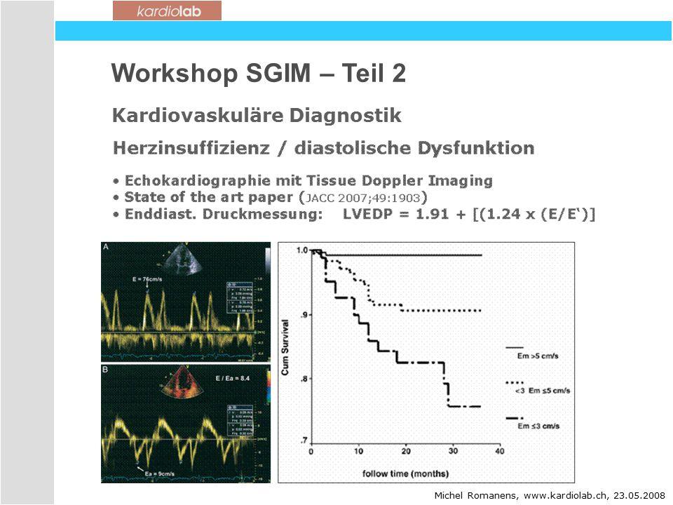 Workshop SGIM – Teil 2 Kardiovaskuläre Diagnostik Michel Romanens, www.kardiolab.ch, 23.05.2008