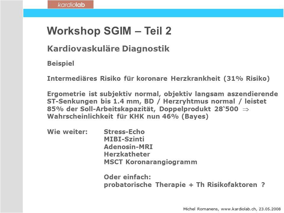 Workshop SGIM – Teil 2 Kardiovaskuläre Diagnostik Michel Romanens, www.kardiolab.ch, 23.05.2008 Beispiel Intermediäres Risiko für koronare Herzkrankheit (31% Risiko) Ergometrie ist subjektiv normal, objektiv langsam aszendierende ST-Senkungen bis 1.4 mm, BD / Herzryhtmus normal / leistet 85% der Soll-Arbeitskapazität, Doppelprodukt 28'500  Wahrscheinlichkeit für KHK nun 46% (Bayes) Wie weiter:Stress-Echo MIBI-Szinti Adenosin-MRI Herzkatheter MSCT Koronarangiogramm Oder einfach: probatorische Therapie + Th Risikofaktoren ?