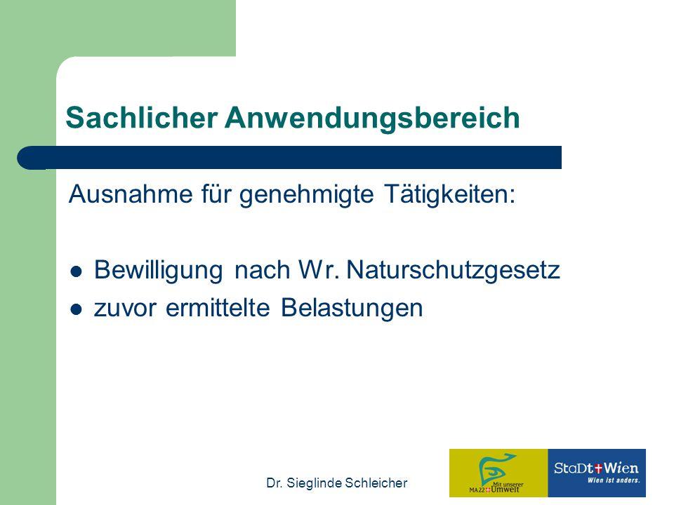 Dr. Sieglinde Schleicher Sachlicher Anwendungsbereich Ausnahme für genehmigte Tätigkeiten: Bewilligung nach Wr. Naturschutzgesetz zuvor ermittelte Bel