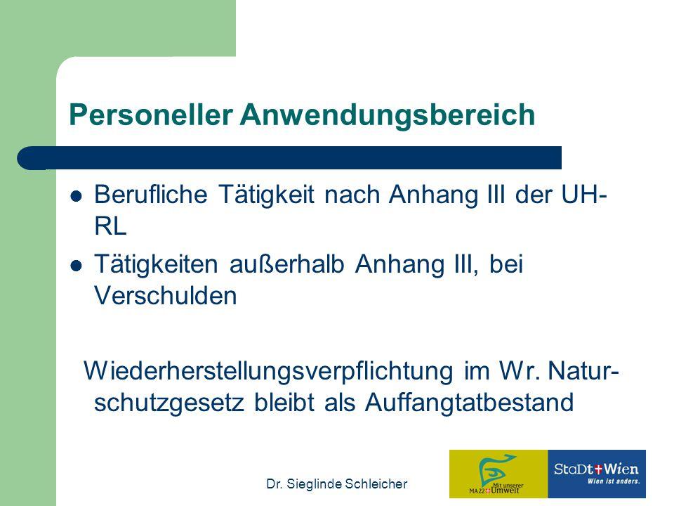 Dr. Sieglinde Schleicher Personeller Anwendungsbereich Berufliche Tätigkeit nach Anhang III der UH- RL Tätigkeiten außerhalb Anhang III, bei Verschuld
