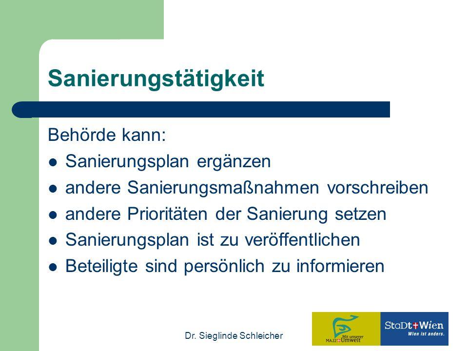Dr. Sieglinde Schleicher Sanierungstätigkeit Behörde kann: Sanierungsplan ergänzen andere Sanierungsmaßnahmen vorschreiben andere Prioritäten der Sani