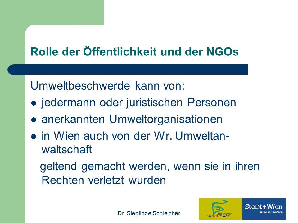 Dr. Sieglinde Schleicher Rolle der Öffentlichkeit und der NGOs Umweltbeschwerde kann von: jedermann oder juristischen Personen anerkannten Umweltorgan