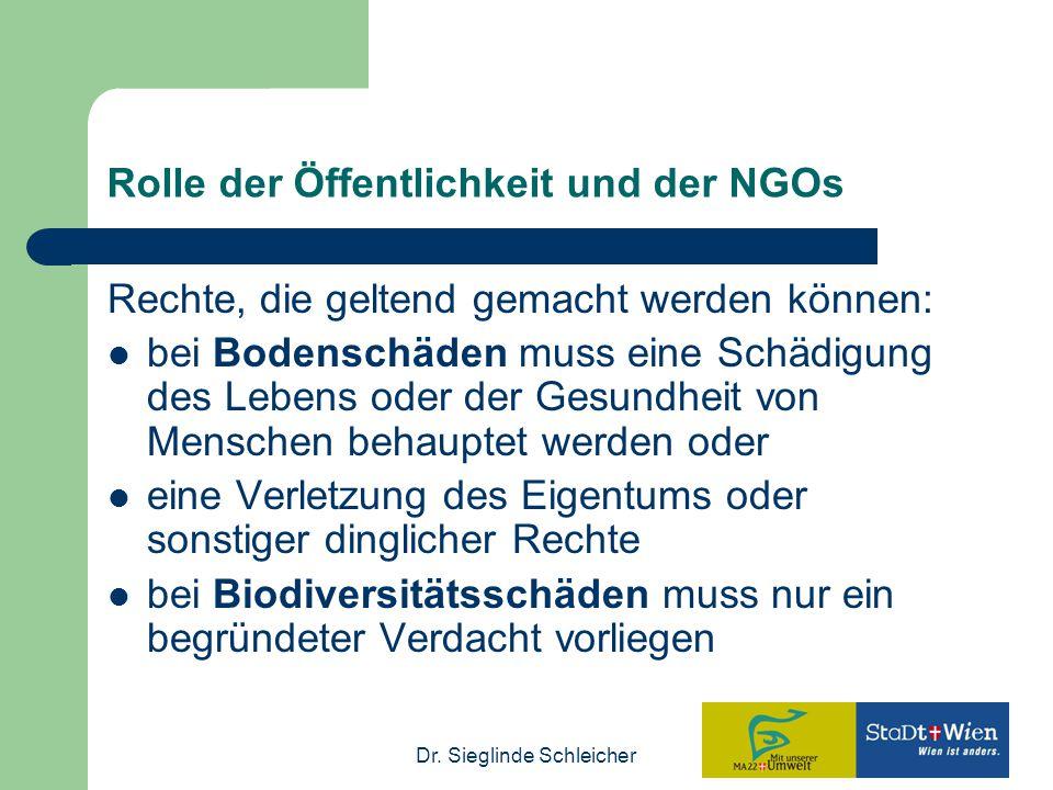 Dr. Sieglinde Schleicher Rolle der Öffentlichkeit und der NGOs Rechte, die geltend gemacht werden können: bei Bodenschäden muss eine Schädigung des Le