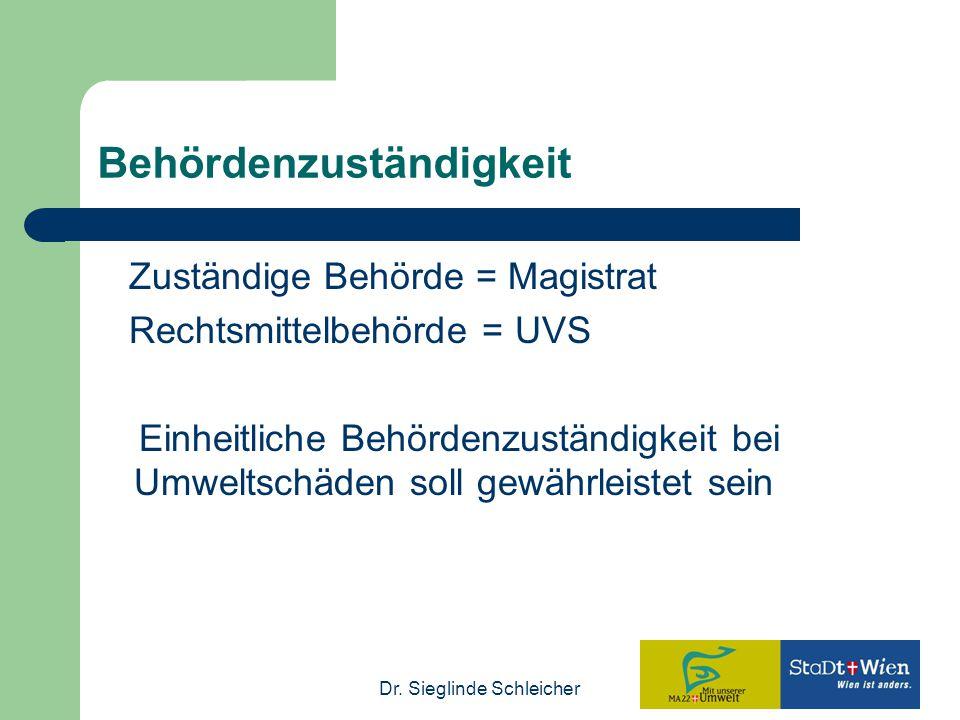 Dr. Sieglinde Schleicher Behördenzuständigkeit Zuständige Behörde = Magistrat Rechtsmittelbehörde = UVS Einheitliche Behördenzuständigkeit bei Umwelts