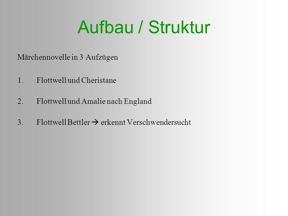 Aufbau / Struktur Märchennovelle in 3 Aufzügen 1.Flottwell und Cheristane 2.Flottwell und Amalie nach England 3.Flottwell Bettler  erkennt Verschwend