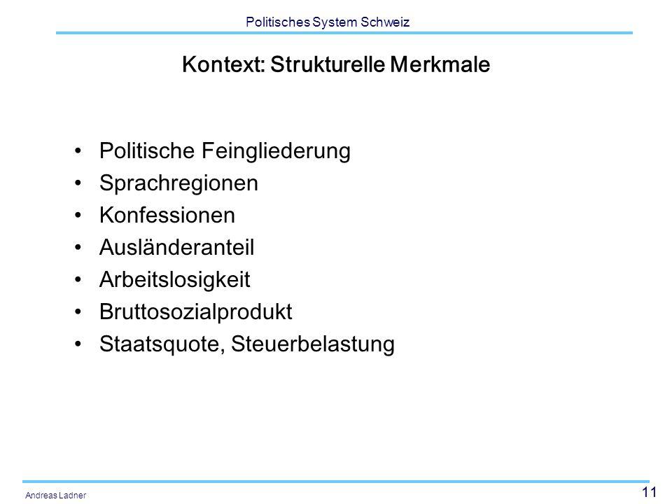 11 Politisches System Schweiz Andreas Ladner Kontext: Strukturelle Merkmale Politische Feingliederung Sprachregionen Konfessionen Ausländeranteil Arbeitslosigkeit Bruttosozialprodukt Staatsquote, Steuerbelastung