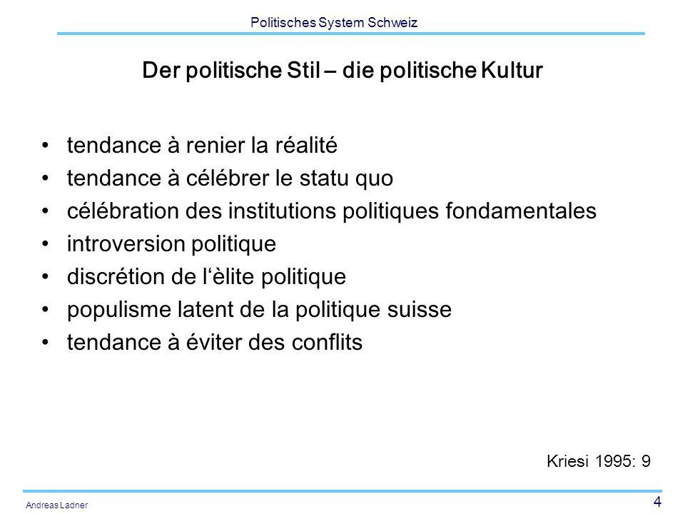 15 Politisches System Schweiz Andreas Ladner Sprache 63.8 % 20.4 % 6.5 % 0.5 % 9.0 %