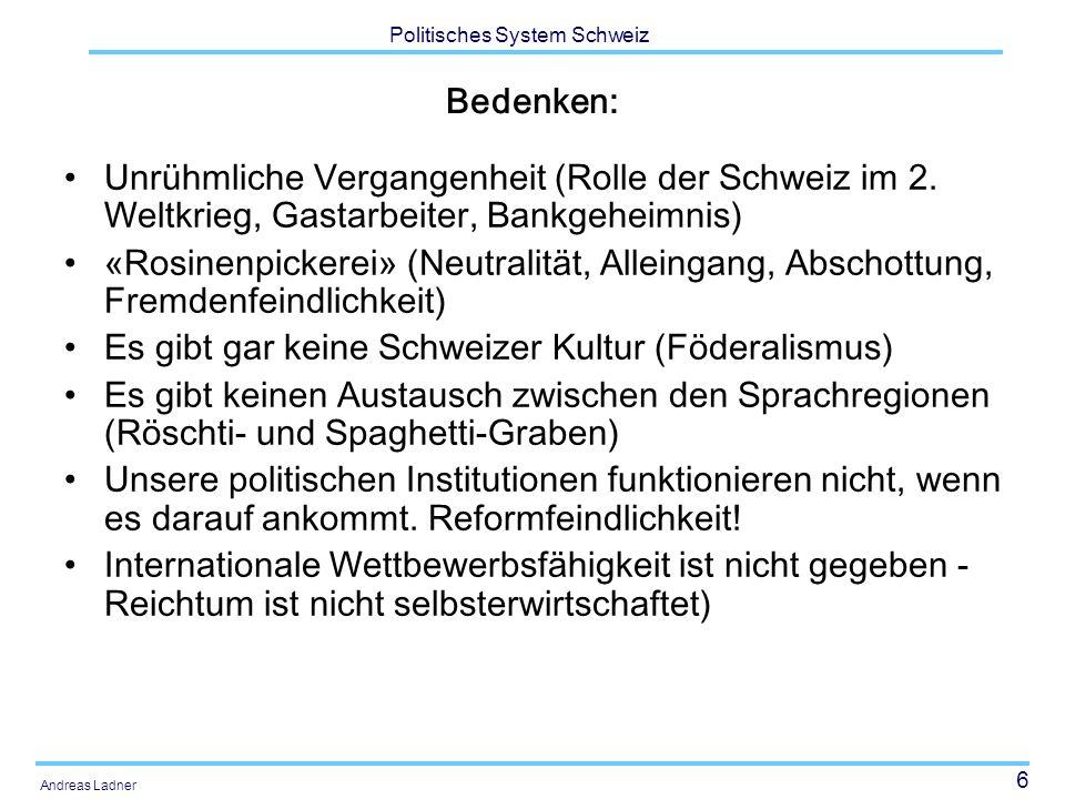 17 Politisches System Schweiz Andreas Ladner Katholiken und Protestanten 1850 und 1990 (Prozentanteile)