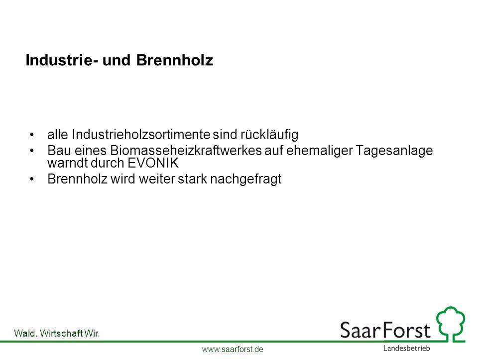 www.saarforst.de Wald. Wirtschaft Wir. Industrie- und Brennholz alle Industrieholzsortimente sind rückläufig Bau eines Biomasseheizkraftwerkes auf ehe