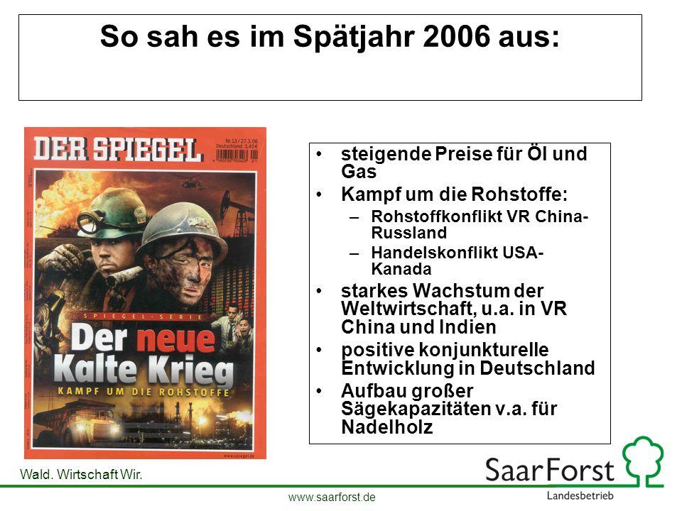 www.saarforst.de Wald. Wirtschaft Wir. So sah es im Spätjahr 2006 aus: steigende Preise für Öl und Gas Kampf um die Rohstoffe: –Rohstoffkonflikt VR Ch