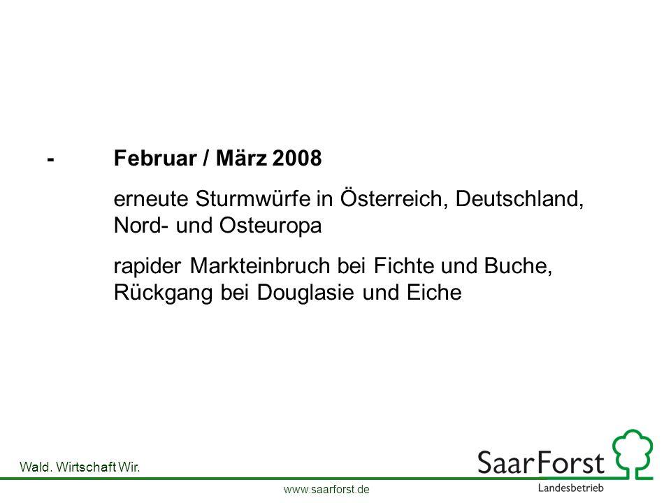 www.saarforst.de Wald. Wirtschaft Wir. -Februar / März 2008 erneute Sturmwürfe in Österreich, Deutschland, Nord- und Osteuropa rapider Markteinbruch b