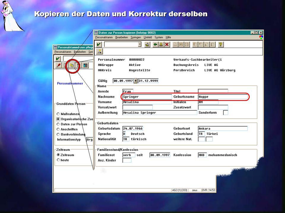 Mesalina Hoppe Kopieren der Daten und Korrektur derselben