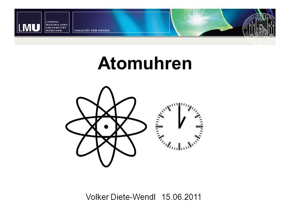 2 Gliederung Definition einer Sekunde Motivation Grundidee einer Atomuhr Arten von Atomuhren –Cäsium Uhren –Optische Atomuhren –Kompakte Atomuhren Ausblick Zusammenfassung