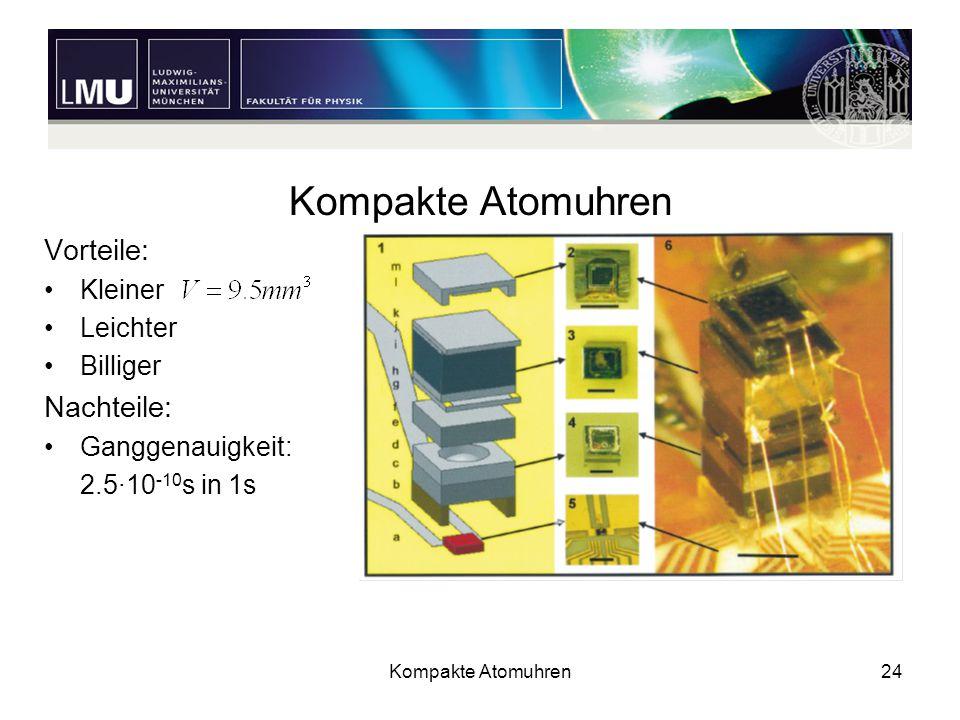 Kompakte Atomuhren24 Kompakte Atomuhren Vorteile: Kleiner Leichter Billiger Nachteile: Ganggenauigkeit: 2.5·10 -10 s in 1s