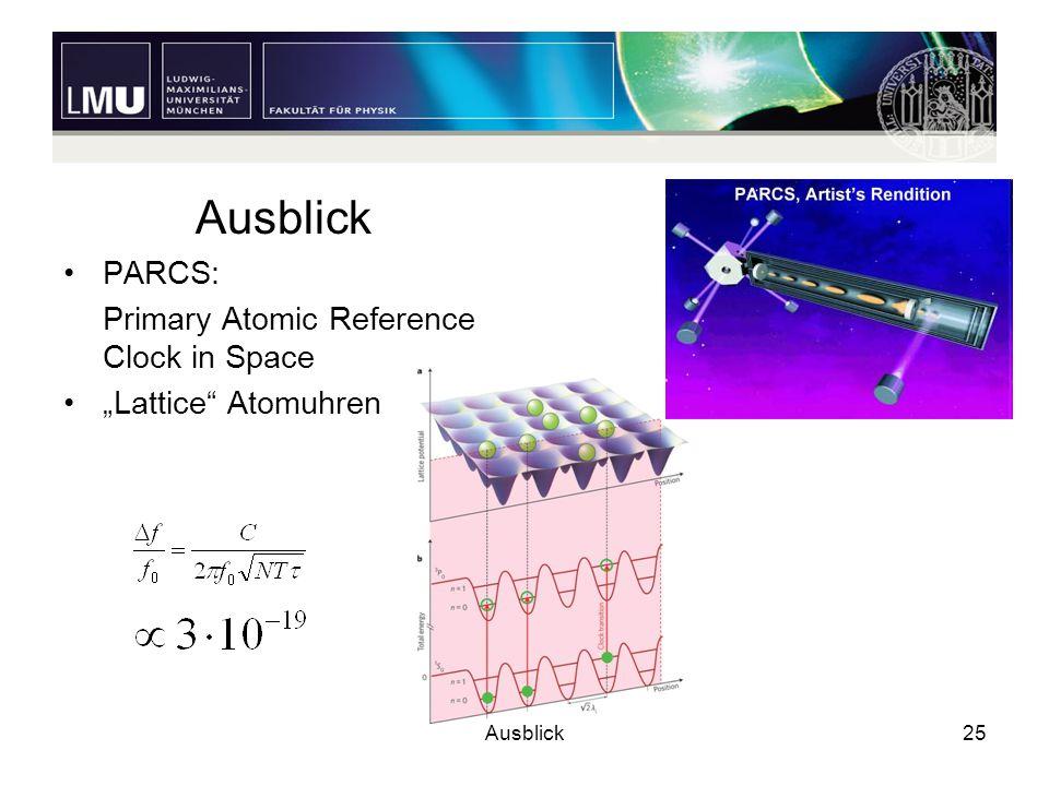 "Ausblick25 Ausblick PARCS: Primary Atomic Reference Clock in Space ""Lattice"" Atomuhren"