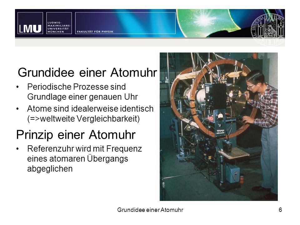 Grundidee einer Atomuhr6 Periodische Prozesse sind Grundlage einer genauen Uhr Atome sind idealerweise identisch (=>weltweite Vergleichbarkeit) Prinzi