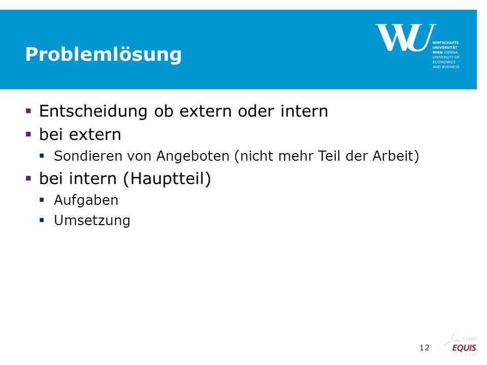 12 Problemlösung  Entscheidung ob extern oder intern  bei extern  Sondieren von Angeboten (nicht mehr Teil der Arbeit)  bei intern (Hauptteil)  A