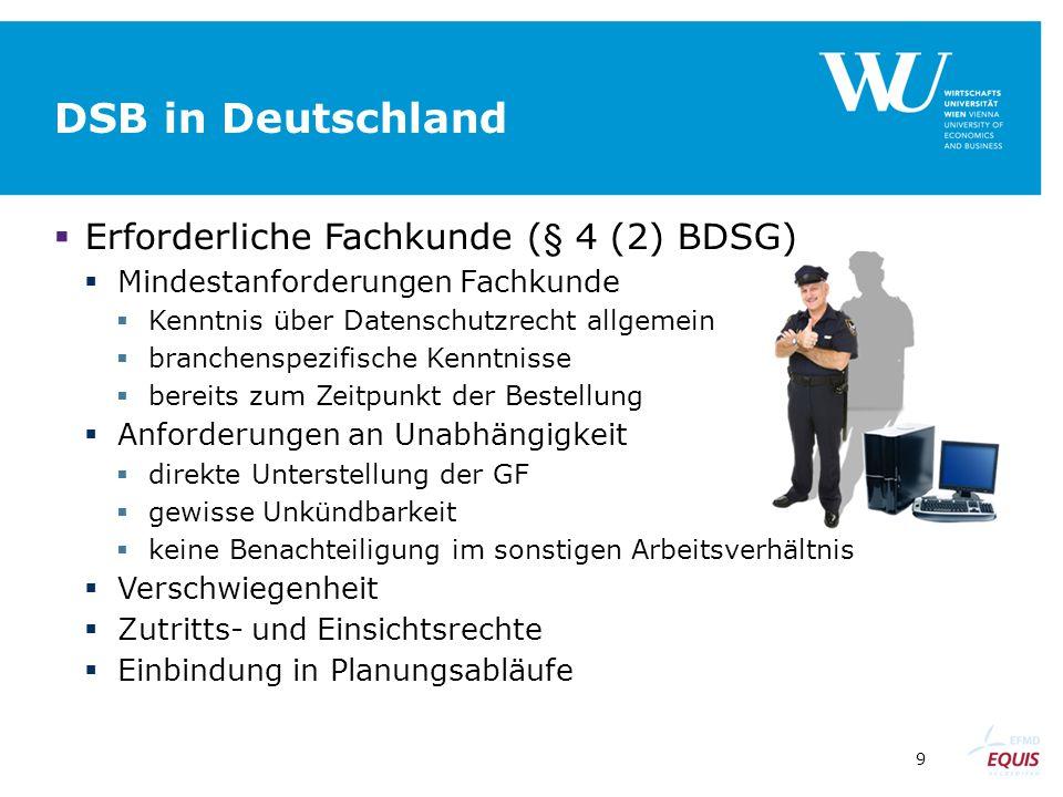 9 DSB in Deutschland  Erforderliche Fachkunde (§ 4 (2) BDSG)  Mindestanforderungen Fachkunde  Kenntnis über Datenschutzrecht allgemein  branchensp