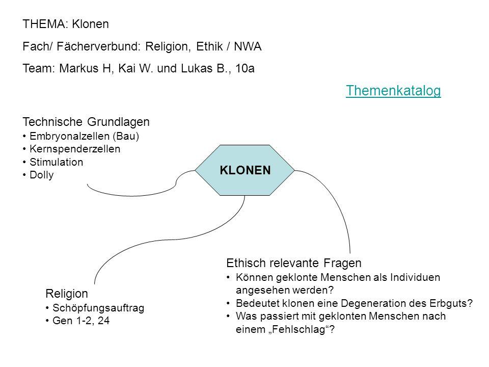 THEMA: Klonen Fach/ Fächerverbund: Religion, Ethik / NWA Team: Markus H, Kai W. und Lukas B., 10a KLONEN Technische Grundlagen Embryonalzellen (Bau) K