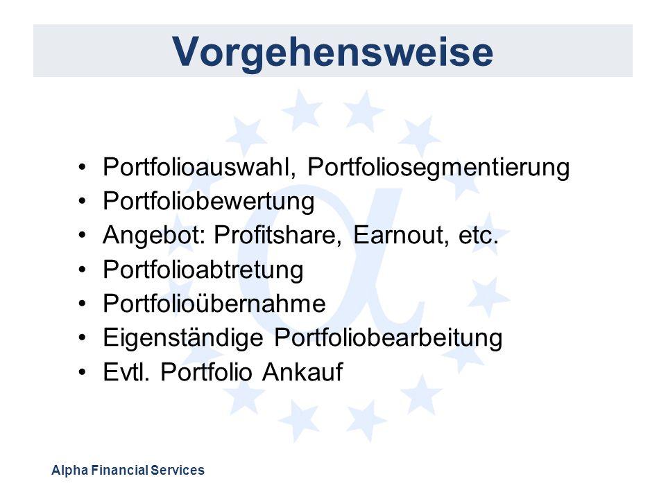 Alpha Financial Services Vorgehensweise Portfolioauswahl, Portfoliosegmentierung Portfoliobewertung Angebot: Profitshare, Earnout, etc. Portfolioabtre