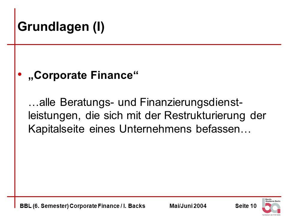 Seite 10BBL (6.Semester) Corporate Finance / I.