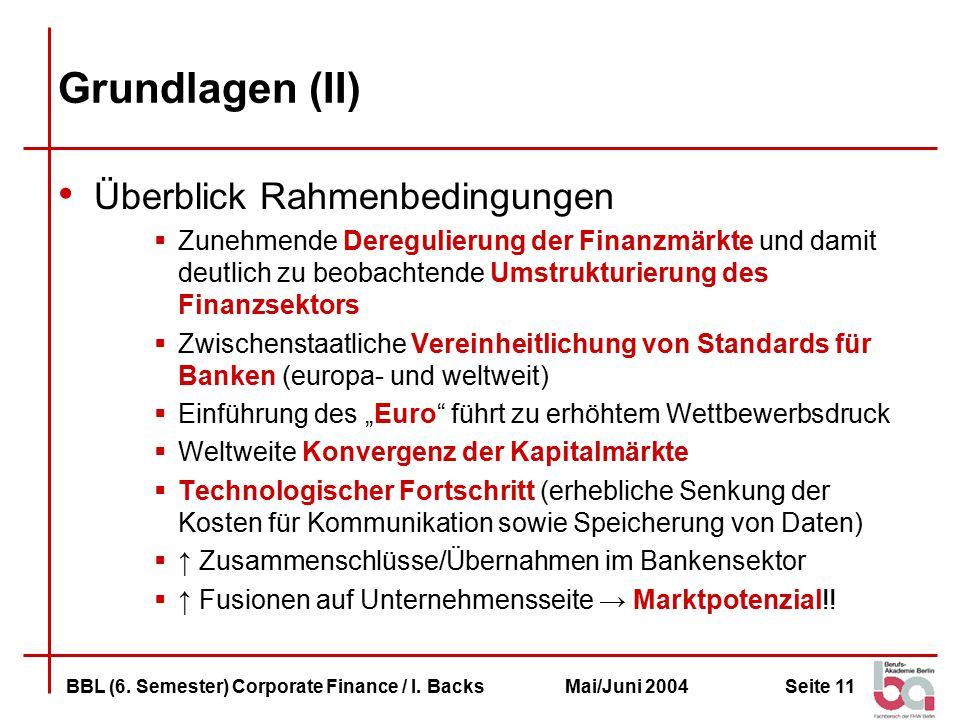 Seite 11BBL (6.Semester) Corporate Finance / I.