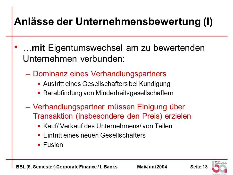 Seite 13BBL (6.Semester) Corporate Finance / I.