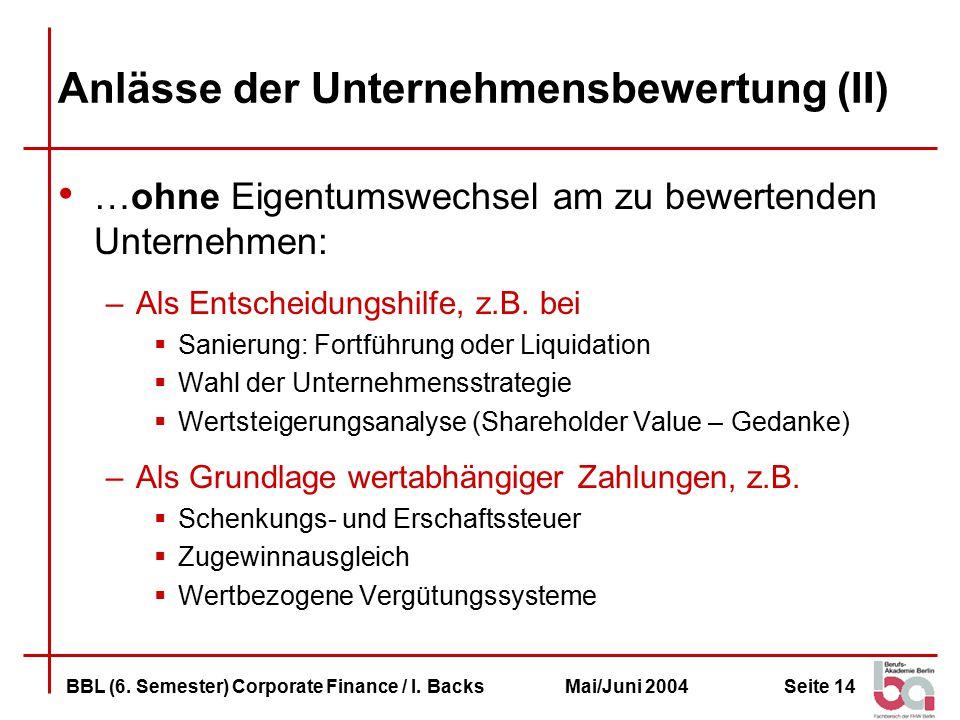 Seite 14BBL (6.Semester) Corporate Finance / I.