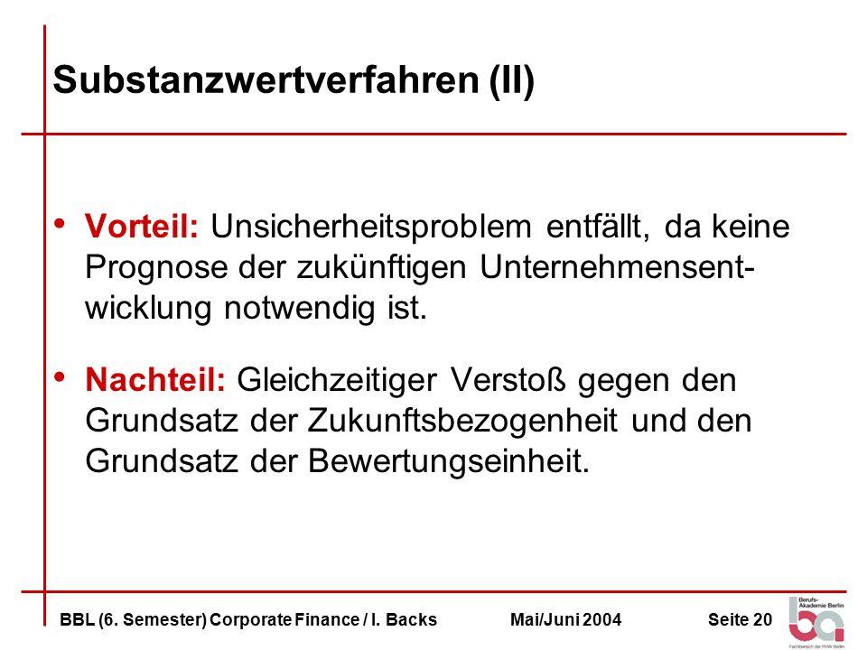 Seite 20BBL (6.Semester) Corporate Finance / I.