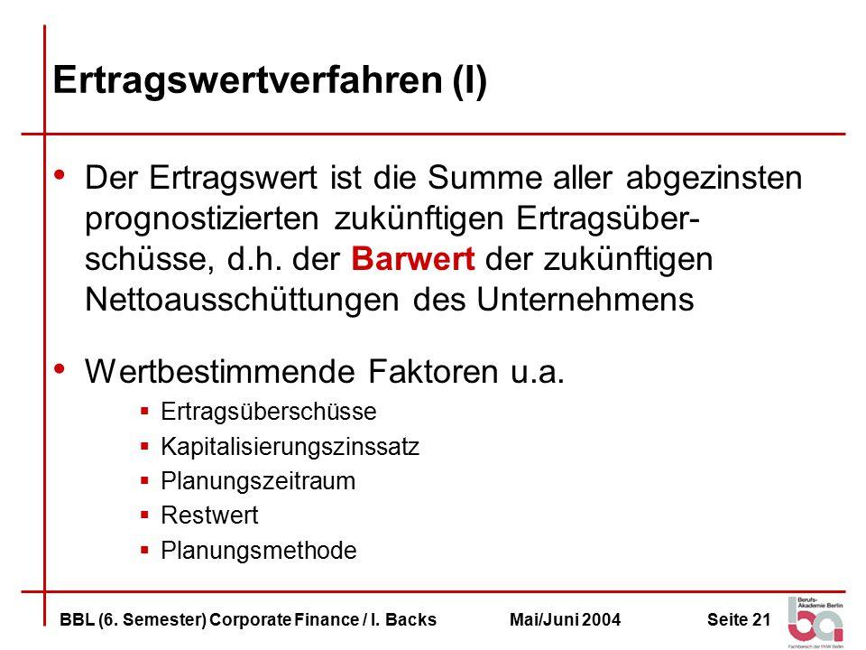 Seite 21BBL (6.Semester) Corporate Finance / I.