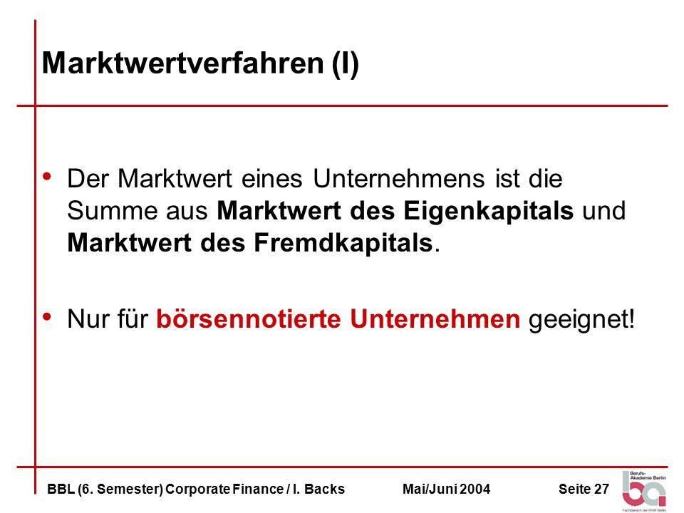 Seite 27BBL (6.Semester) Corporate Finance / I.