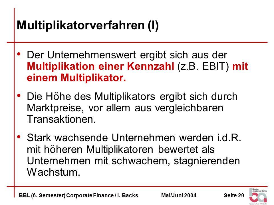 Seite 29BBL (6.Semester) Corporate Finance / I.