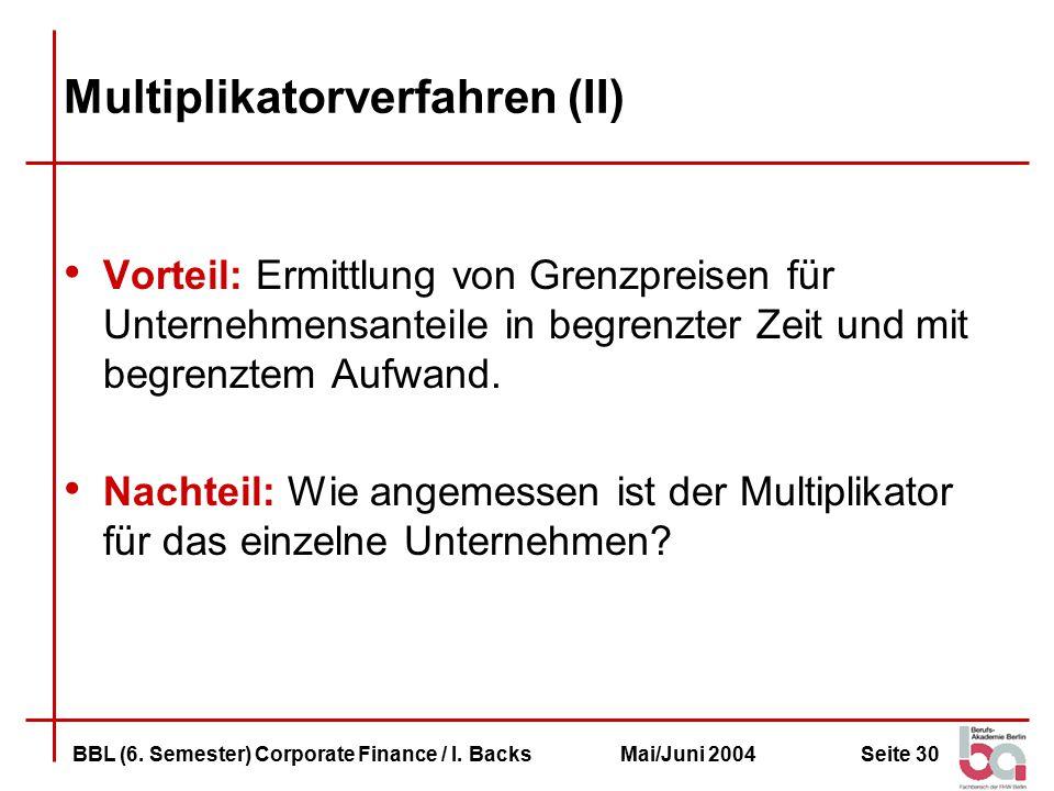 Seite 30BBL (6.Semester) Corporate Finance / I.