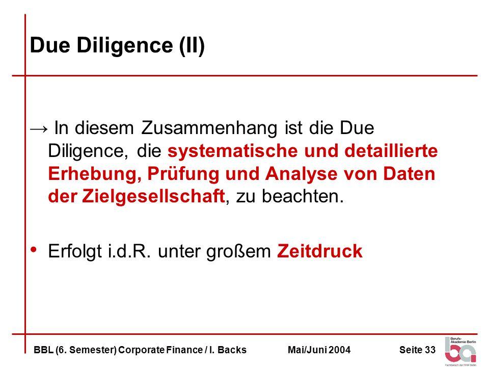 Seite 33BBL (6.Semester) Corporate Finance / I.