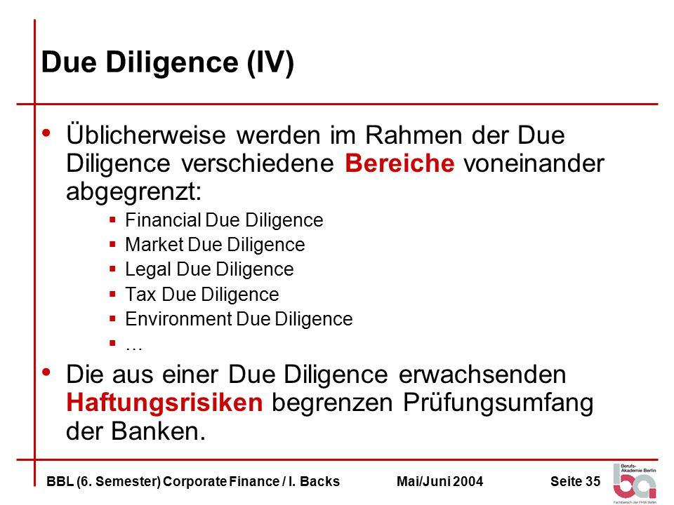 Seite 35BBL (6.Semester) Corporate Finance / I.