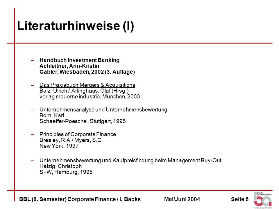 Seite 7BBL (6.Semester) Corporate Finance / I.