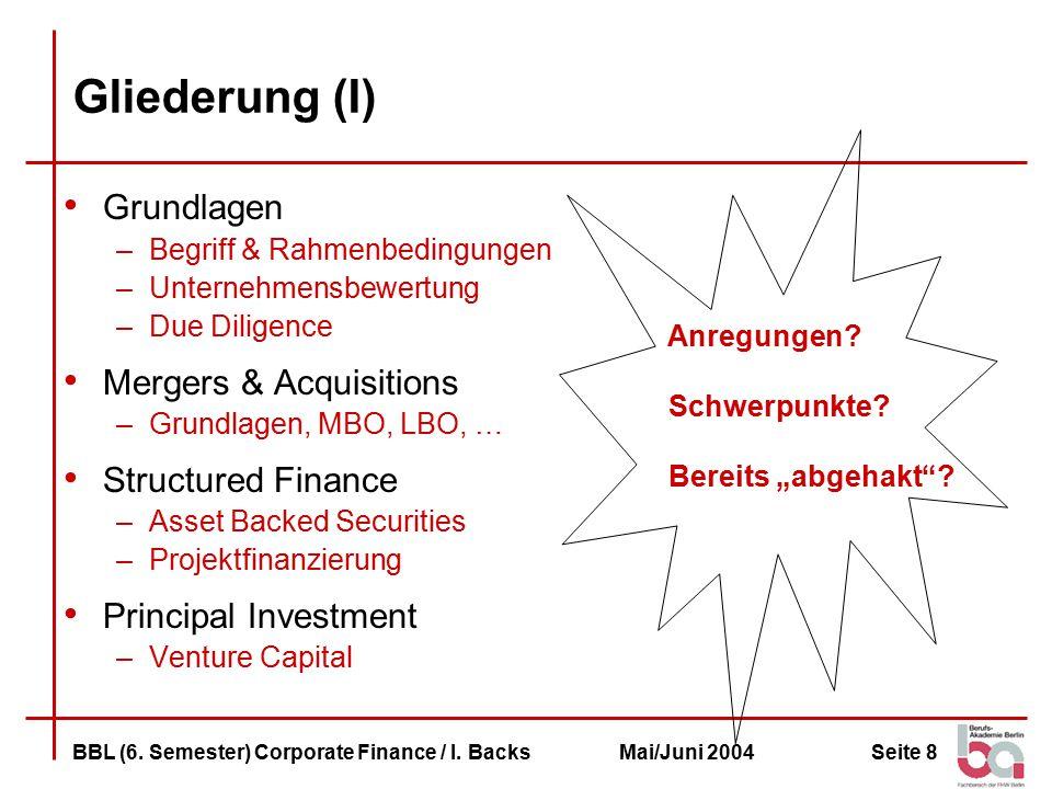 Seite 8BBL (6.Semester) Corporate Finance / I.