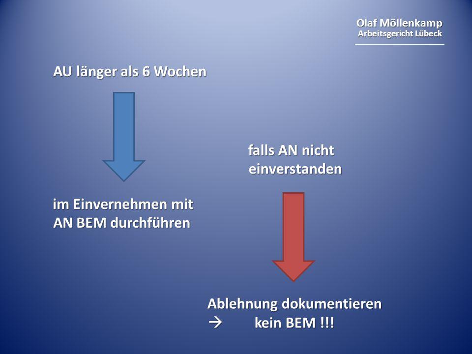 Olaf Möllenkamp Arbeitsgericht Lübeck AU länger als 6 Wochen im Einvernehmen mit AN BEM durchführen falls AN nicht einverstanden Ablehnung dokumentier