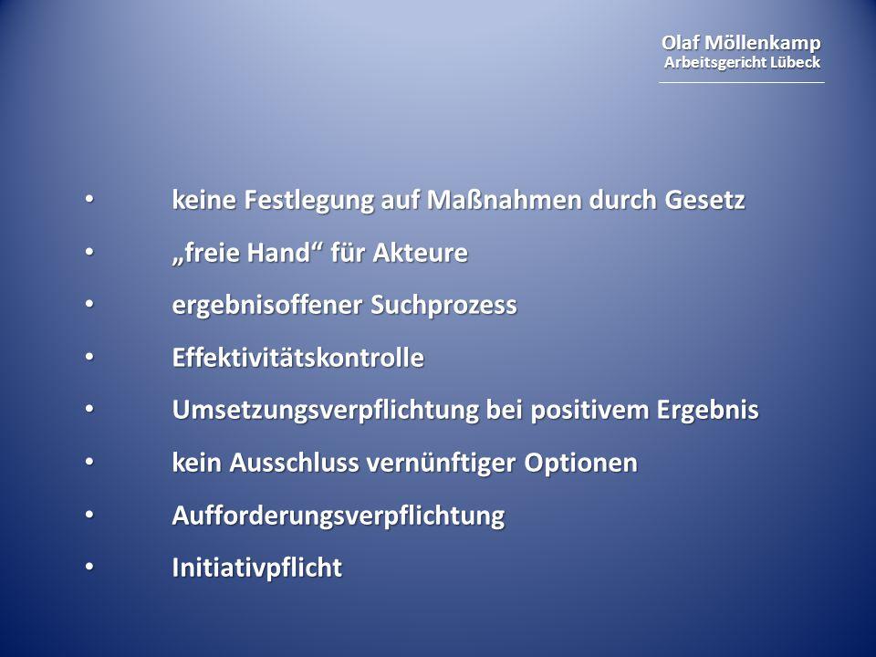 """Olaf Möllenkamp Arbeitsgericht Lübeck keine Festlegung auf Maßnahmen durch Gesetz keine Festlegung auf Maßnahmen durch Gesetz """"freie Hand"""" für Akteure"""