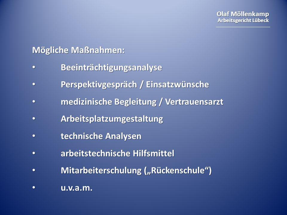 Olaf Möllenkamp Arbeitsgericht Lübeck Mögliche Maßnahmen: Beeinträchtigungsanalyse Beeinträchtigungsanalyse Perspektivgespräch / Einsatzwünsche Perspe