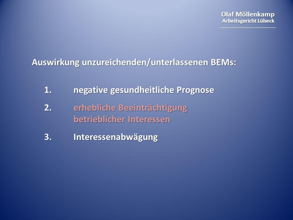 Olaf Möllenkamp Arbeitsgericht Lübeck Auswirkung unzureichenden/unterlassenen BEMs: 1.negative gesundheitliche Prognose 2.erhebliche Beeinträchtigung betrieblicher Interessen 3.Interessenabwägung