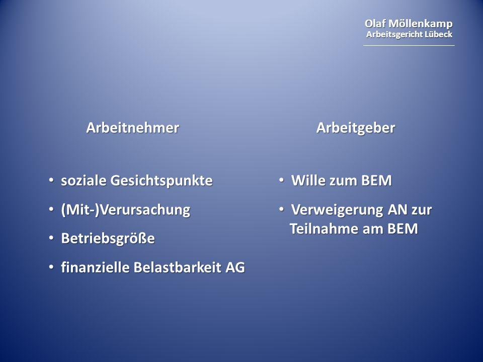 Olaf Möllenkamp Arbeitsgericht Lübeck ArbeitnehmerArbeitgeber soziale Gesichtspunkte soziale Gesichtspunkte (Mit-)Verursachung (Mit-)Verursachung Betriebsgröße Betriebsgröße finanzielle Belastbarkeit AG finanzielle Belastbarkeit AG Wille zum BEM Wille zum BEM Verweigerung AN zur Teilnahme am BEM Verweigerung AN zur Teilnahme am BEM