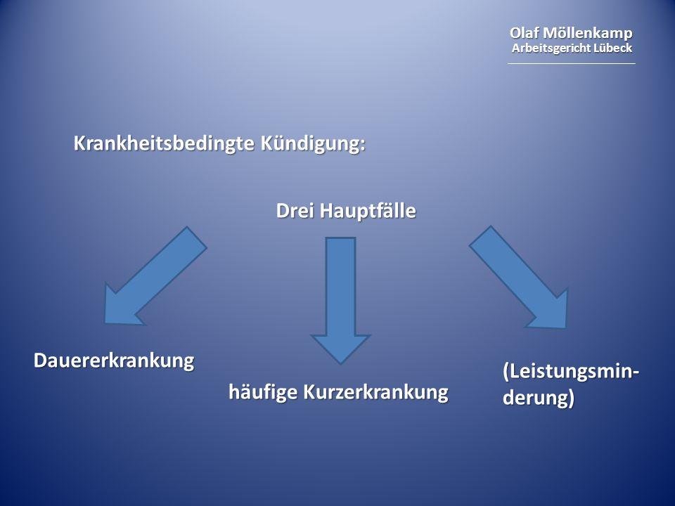 Olaf Möllenkamp Arbeitsgericht Lübeck Krankheitsbedingte Kündigung: Drei Hauptfälle Dauererkrankung häufige Kurzerkrankung (Leistungsmin- derung)