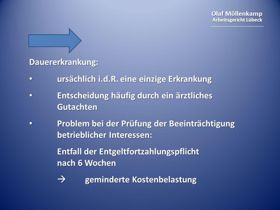 Olaf Möllenkamp Arbeitsgericht Lübeck Dauererkrankung: ursächlich i.d.R. eine einzige Erkrankung ursächlich i.d.R. eine einzige Erkrankung Entscheidun