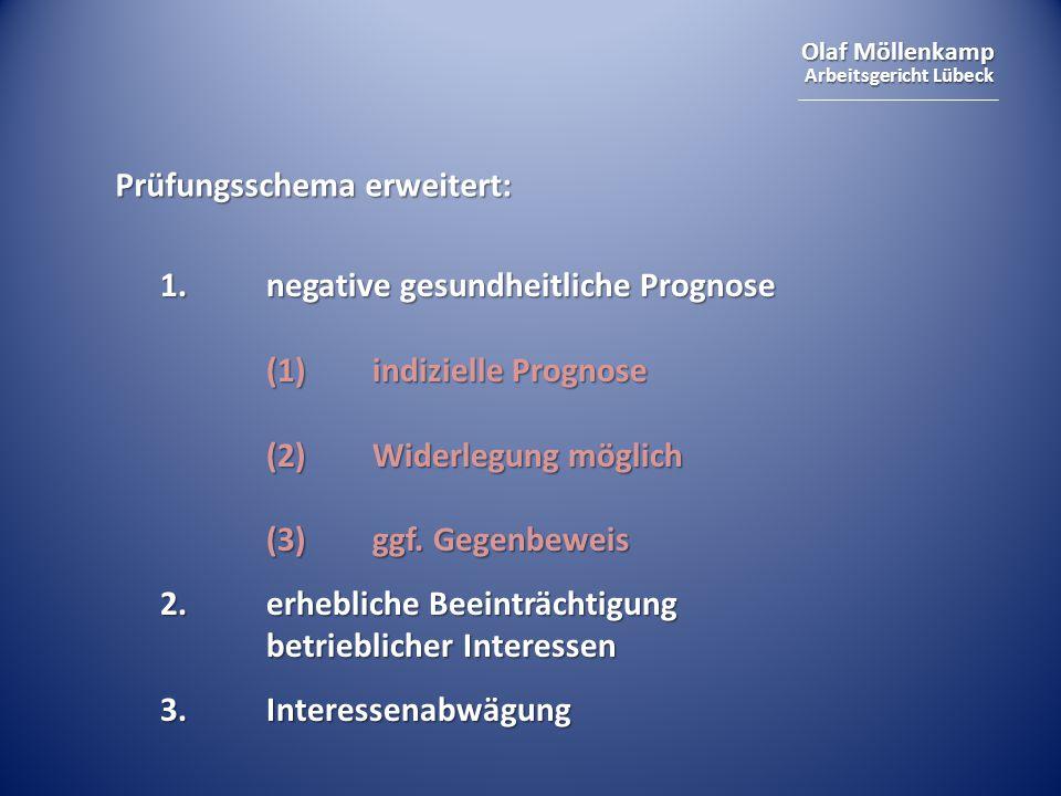 Olaf Möllenkamp Arbeitsgericht Lübeck Prüfungsschema erweitert: 1.negative gesundheitliche Prognose (1) indizielle Prognose (2) Widerlegung möglich (3