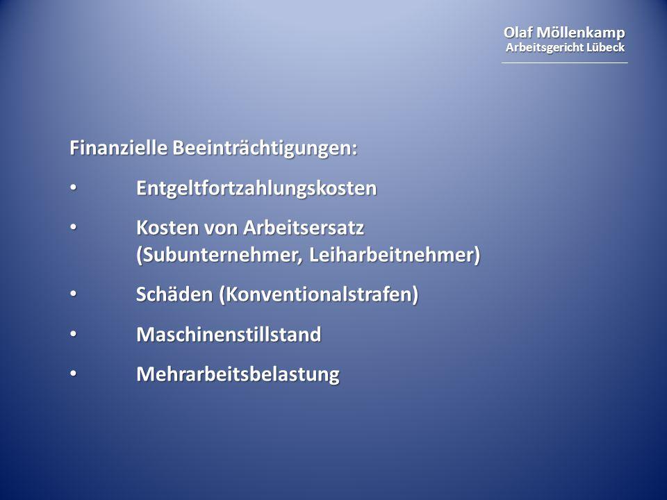 Olaf Möllenkamp Arbeitsgericht Lübeck Finanzielle Beeinträchtigungen: Entgeltfortzahlungskosten Entgeltfortzahlungskosten Kosten von Arbeitsersatz (Su