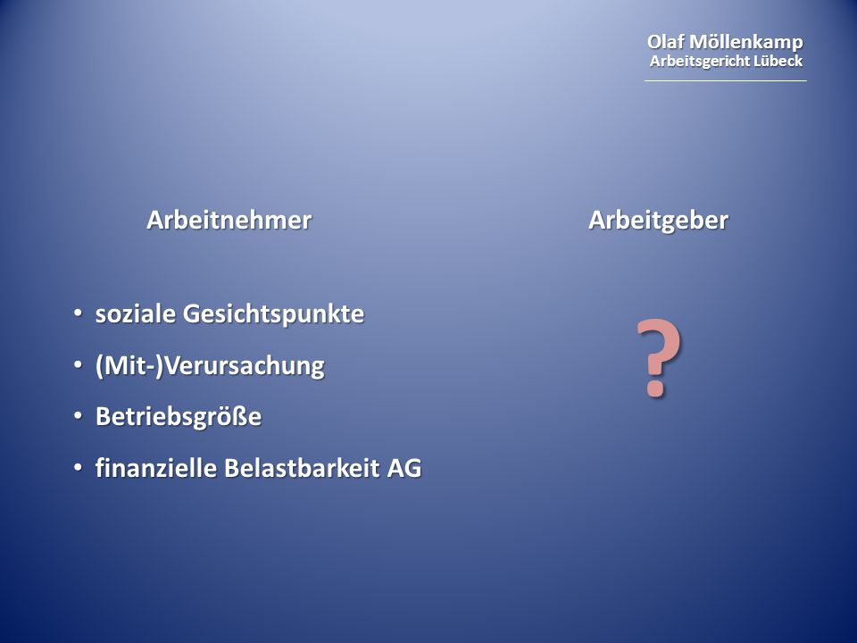 Olaf Möllenkamp Arbeitsgericht Lübeck ArbeitnehmerArbeitgeber soziale Gesichtspunkte soziale Gesichtspunkte (Mit-)Verursachung (Mit-)Verursachung Betr