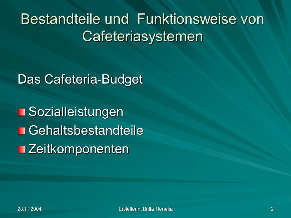 28.11.2004 Erstellerin: Britta Heneka 2 Bestandteile und Funktionsweise von Cafeteriasystemen Das Cafeteria-Budget SozialleistungenGehaltsbestandteile