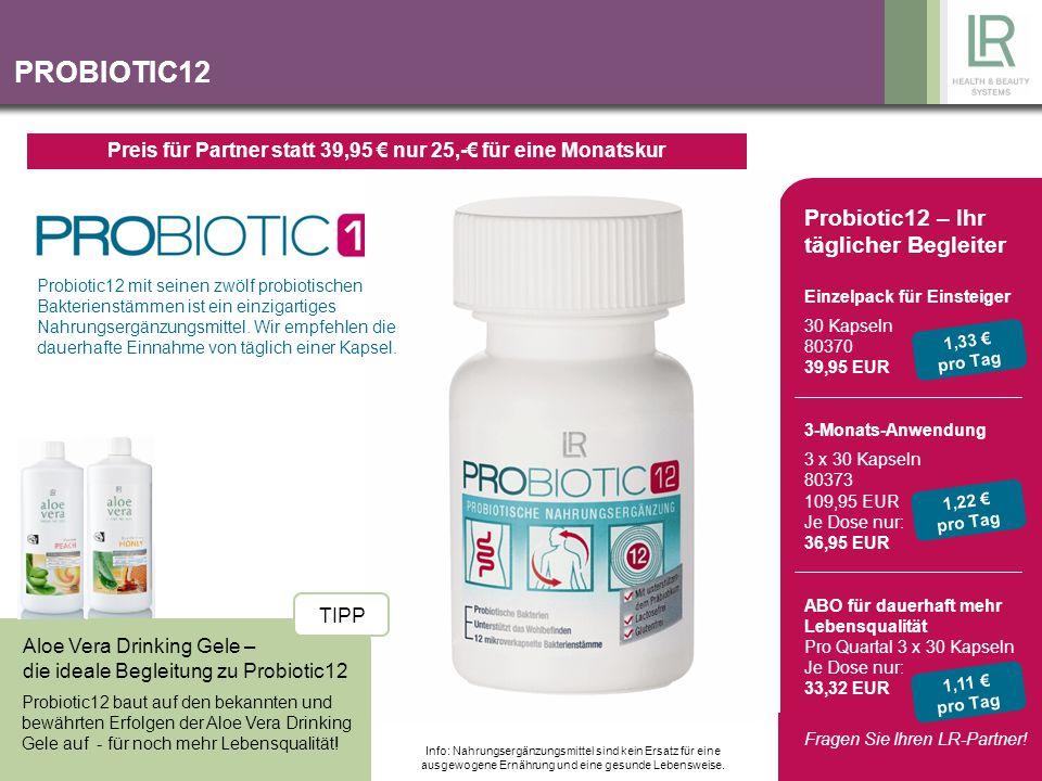 PROBIOTIC12 Aloe Vera Drinking Gele – die ideale Begleitung zu Probiotic12 Probiotic12 baut auf den bekannten und bewährten Erfolgen der Aloe Vera Dri