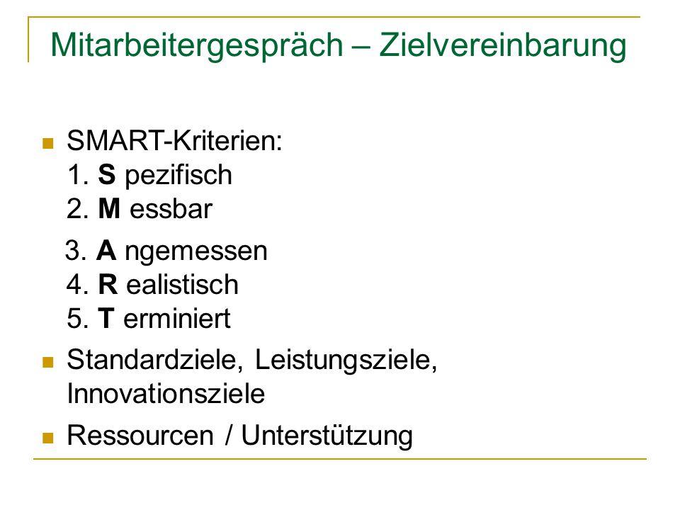 Mitarbeitergespräch – Zielvereinbarung SMART-Kriterien: 1. S pezifisch 2. M essbar 3. A ngemessen 4. R ealistisch 5. T erminiert Standardziele, Leistu